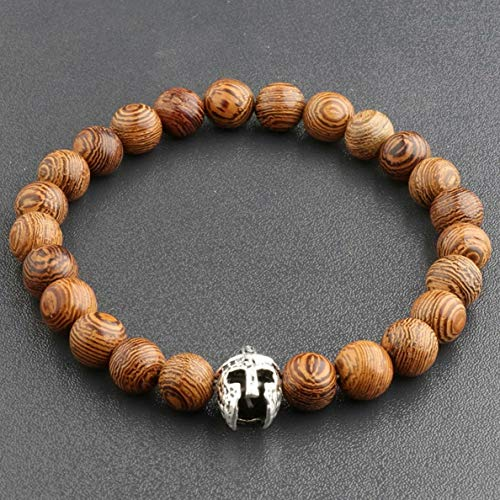 Werrox 8MM Owl Buddha Beaded Natural Lava Stone Gold Silver Charm Fashion Men Bracelets | Model BRCLT - 3796 | ()