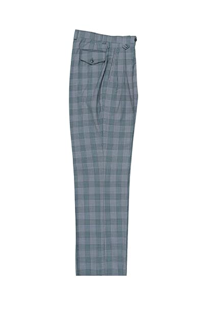1920s Men's Pants, Trousers, Plus Fours, Knickers Tiglio Luxe Gray Green Navy Plaid/Windowpane Wide Leg Pure Wool Dress Pants 2576 RS6371/1 $99.00 AT vintagedancer.com
