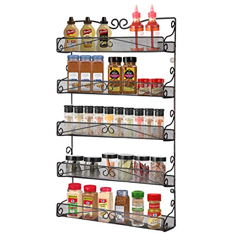 Hanging Kitchen Cabinets - 3S Wall Mounted Spice Rack Organizer for Cabinet Pantry Door Kitchen Large Hanging Spice Shelf,5 Tier Black