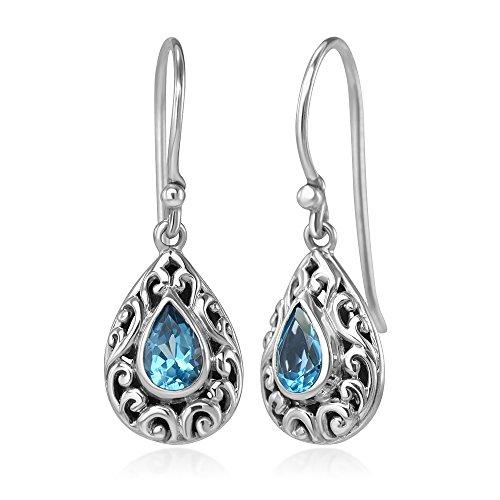 - 925 Sterling Silver Filigree Bali Inspired Blue Topaz Gemstone Teardrop Dangle Hook Earrings 1.1