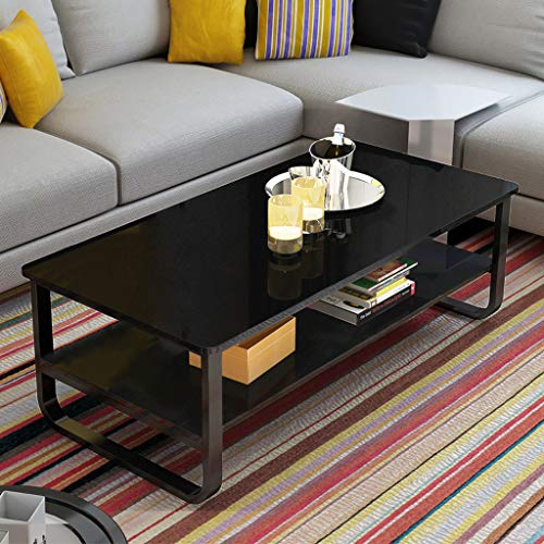 - Ketteb Modern Home Coffee Table 2-Tier Cocktail Table with Storage Shelf for Living Room Look Accent Furniture with Metal Frame Modern Studio Collection Classic Rectangular Coffee Table (Black)