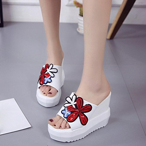 High Shoes Slippers White Bottom Sloped Wedges Platform Embroidered Women hunpta Heeled Thick HZvx7