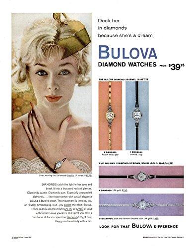 *PRINT AD* 1959 BULOVA DIAMOND WATCHES
