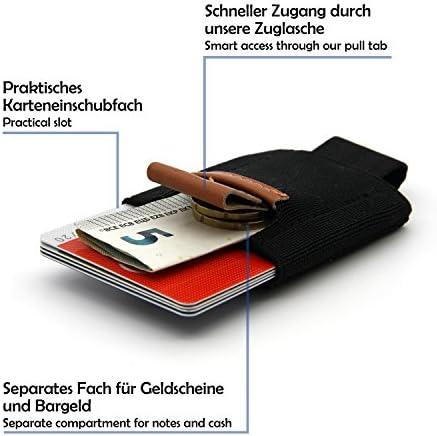 portafogli astuccio per carte 16 carte borsellino per max SWISSONA porta carte in materiale plastico elasticizzato e vera pelle mini portafoglio porta carte di credito