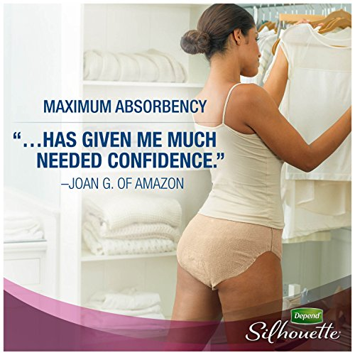 Depend Silhouette Incontinence Underwear for Women, Maximum Absorbency, L/XL, Beige, 52 Count by Depend (Image #6)