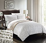 Chic Home 3 Piece New Faux Fur Collection with Mink Like Backing in Alligator Animal Skin Design Comforter Set, Queen, Beige