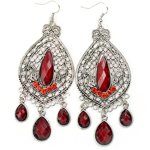 [Retro Design Hollow Alloy Turquoise Drop Earrings] (Elephant Ears And Nose Costume)