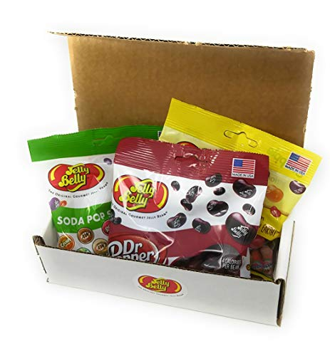 Holiday Cranberry Punch - Jelly Belly Soda Flavors Gift Box - Three 3.5 oz Bags Jelly Beans - Dr. Pepper, Soda Pop Shoppe Mix, and Snapple Mix - Great Holiday Gift - Full List of Flavors in Description