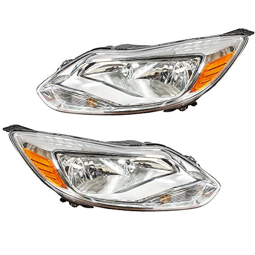 Assembly for 2012 2013 2014 Ford Focus Left Right Side Replacement Headlamps Driving Light Chrome Housing Clear Lens (Right Headlamp Assembly)