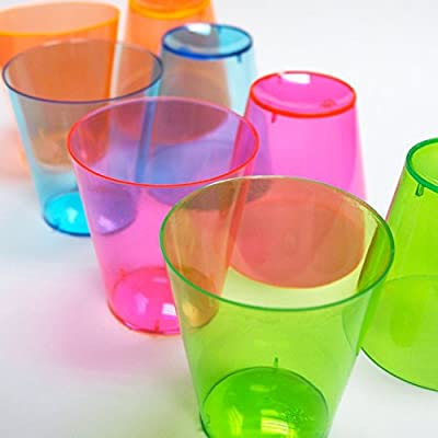 Toasted Drinkware Hard Plastic Neon Vivids 2-Ounce Shot Glasses, 50 Count