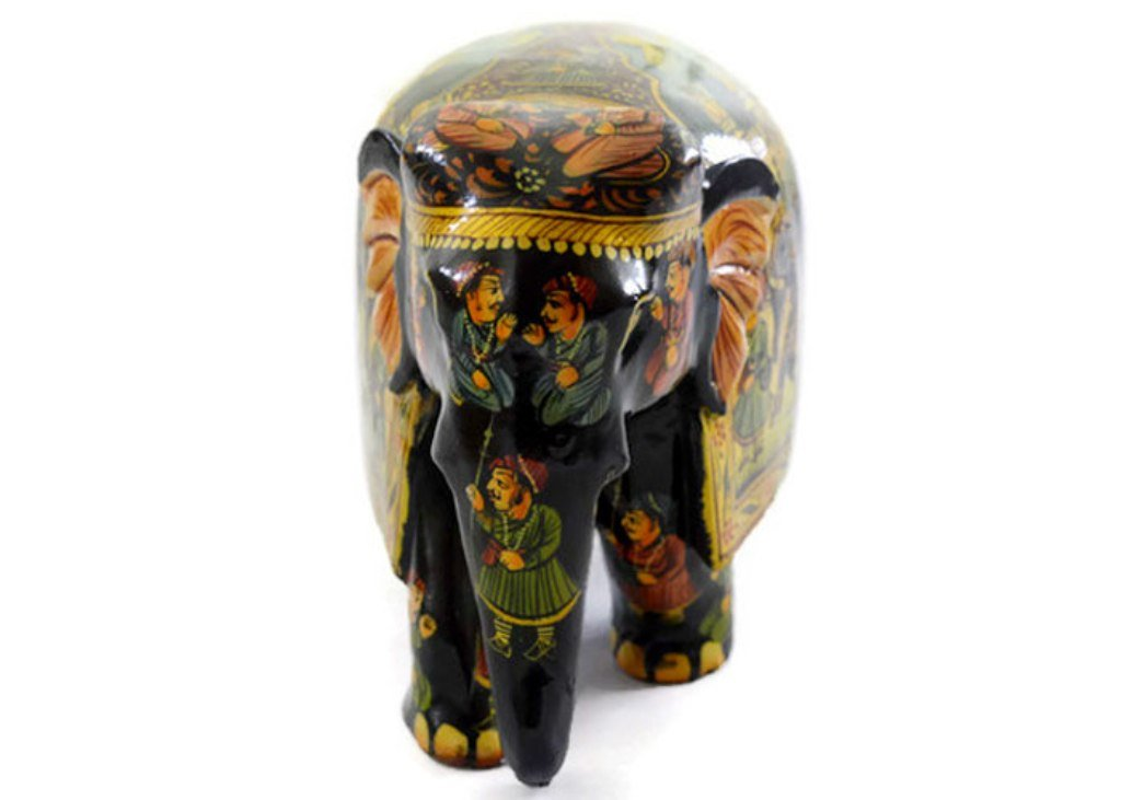 Eurasia Handmade Kadam Wood Elephant With Full Miniature Painting All Around Multi Color 4''-8''