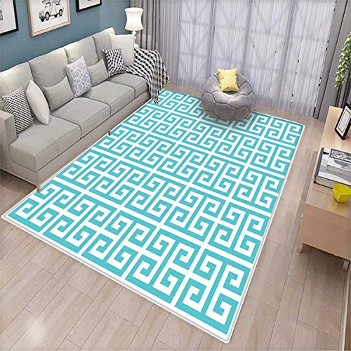 Hellenic Area Rugs - Greek Key Area Rugs for Bedroom Geometric Hellenic Fret Pattern in Pastel Blue and White Color Antique Revival Door Mats for Inside Seafoam White