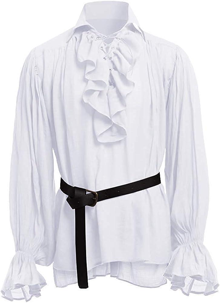 Gemijacka - Camisa de pirata con volantes góticos renacentistas, estilo victoriano, medieval, disfraz de Halloween: Amazon.es: Ropa y accesorios