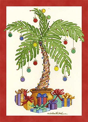 18 Christmas Cards and Envelopes, Decorated Palm Tree and Presents