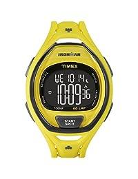 Timex 'Ironman Sleek 50 Neon' Quartz Resin Running Watch, Color:Yellow (Model: TW5M018009J)