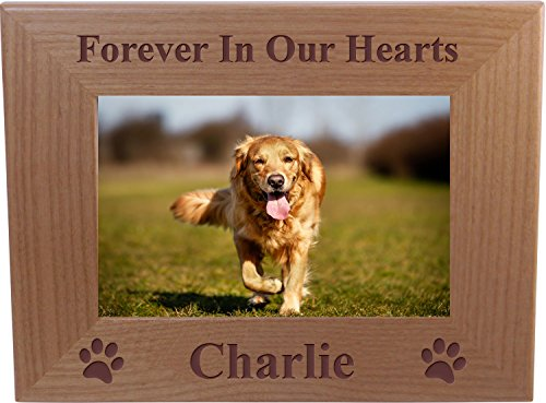 Forever in Our Hearts Custom Dog Memorial Wood Picture Frame - Fits 4x6Inch Picture (4x6 - Frame Dog