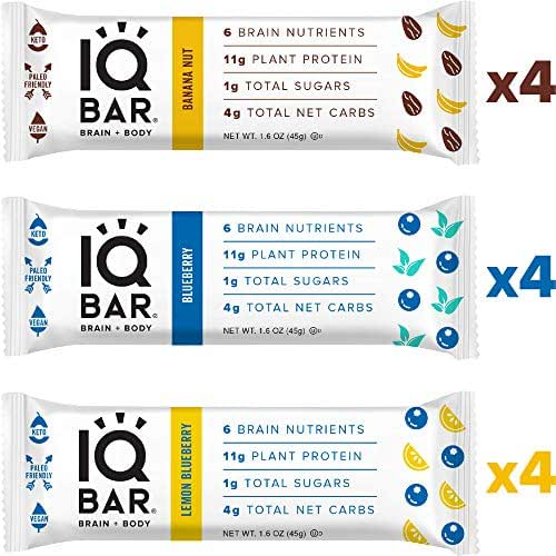 IQ BAR Brain + Body Bars, Fruit Lovers Variety | Keto, Paleo-Friendly, Vegan | 11g Protein, 1g Sugar, 4g Net Carbs | Non-GMO, Gluten-Free, No Sugar Alcohols | 12-Count (3 Flavors)