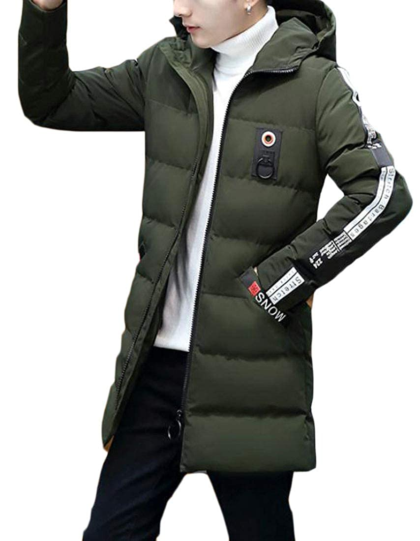 Etecredpow Mens Winter Letter Print Hooded Thick Puffer Down Parka Coat Jacket