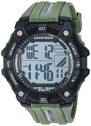 Armitron Sport Men's 40/8403BGN Digital Chronograph Military Green Textured Resin Strap Watch