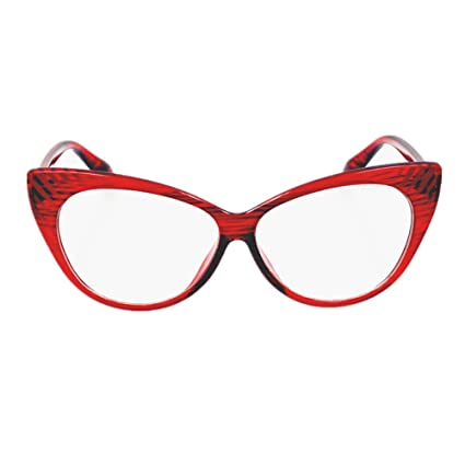 840ccd4c7b Amazon.com  Super Cat Eye Glasses Vintage Inspired Mod Fashion Clear Lens  Eyewear (Red)  Sports   Outdoors
