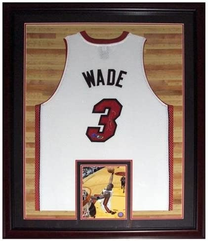 Dwyane Wade Autographed Miami Heat (White #3) Deluxe Framed Jersey – Court Background – Wade Holo - Autographed NBA Jerseys