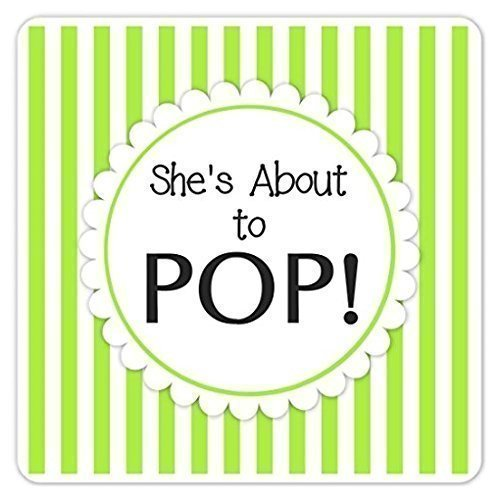 She's About to Pop Stickers, 2 Inch Square Baby Shower Labels, Green Stripes Baby Shower - Delight Stripe