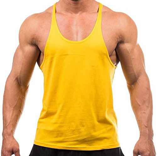Cotton Stringer Tank Top - MANSTORE Men's Blsnk Stringer Y Back Cotton Sport Tank Top P729 YELLOW M