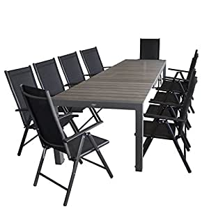 Mobiliario de jardín mesa extensible, marco de aluminio, mesa polywood, 205/275x 100cm, Gris + 10x Respaldo Alto, estructura de aluminio, Cordaje Negro, respaldo 7posiciones.