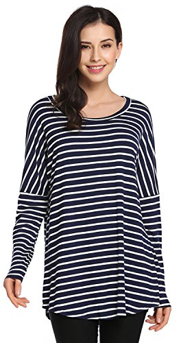 POGTMM Women's Loose Round Neck Long Sleeve Basic Shirts Striped Tunic Top T-Shirt Blouse (XL, Dark Blue) (Tunic Silk Blouse)