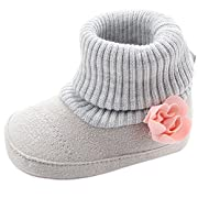 Infant Toddler Girl Boots Lovely Flower Knitted Baby Girl's Crib Shoes First Walkers Newborn Keep Warm Snow Booties