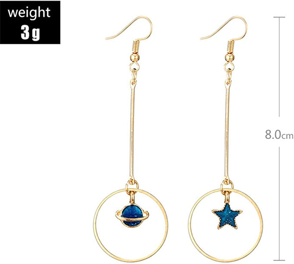 SMALLLOVE 5 Pairs Enamel Moon Star Earth Planet Earrings Set Asymmetric Long Pendant Hook Dangle Drop Stud Earrings for Women Girls