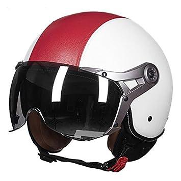 Casco de motocicleta clásico, casco abierto para hombres y mujeres, B,