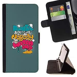 ForSamsung Galaxy S3 MINI i8190 (NOT S3) Case , Texto azul motivación Graffiti- la tarjeta de Crédito Slots PU Funda de cuero Monedero caso cubierta de piel