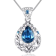 #LightningDeal 58% claimed: MARENJA Crystal-Women's Necklace with Teardrop Shaped Pendant White Gold Plated Sapphire Blue Austrian Crystal 15.7''+2''/40+5cm