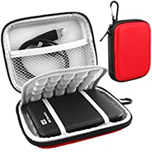 Lacdo Hard EVA Shockproof Carrying Case for Western Digital WD My Passport Studio Ultra Slim Essential / WD Elements SE Portable 1TB 2TB 3TB 4TB 2.5 inch Portable External Hard Drive Travel Bag,Red