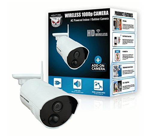 Night Owls Add-on Weather Resistant Indoor/Outdoor Wireless 1080p AC Powered Camera