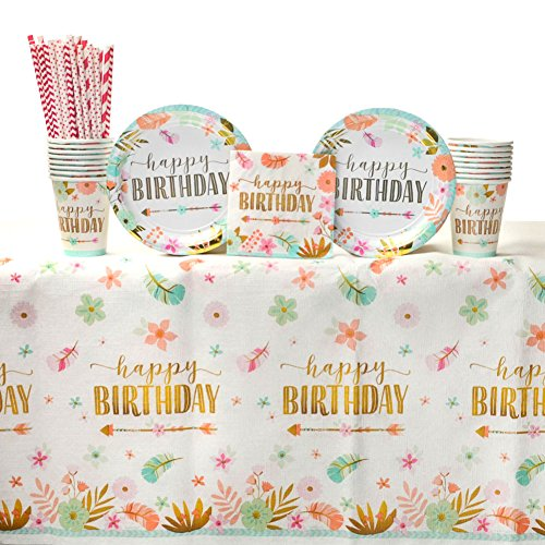 Boho Birthday Girl Party Supplies Pack for 16 Guests: Straws, Dessert Plates, Beverage Napkins, Table Cover, and Cups]()