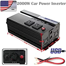 2000W Watt DC 12V to AC 110V Car Power Inverter Modified Sine Wave Converter with Digital Display Function