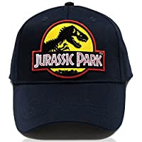 Kids Jurassic Park Movie Yellow Sci Fi Patch Navy Cap Youth Hat by Project T