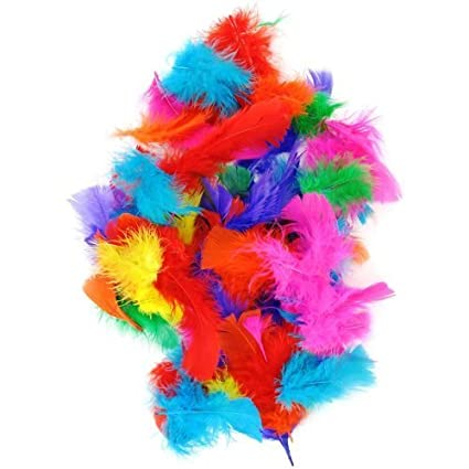 DECORATION CARD ASSORTED MULTI COLOURED FEATHERS ~ EASTER HAT BONNET CRAFT