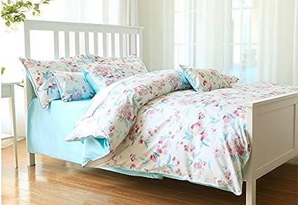 Ropa de cama cama cuatro piezas de algodón azul francés - pastoral,Azul,1