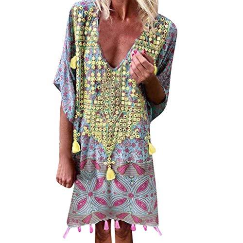 Lycra Lame Mini Dress - URIBAKE 2019 Women Vintage Loose Dress Bohemian Print Short Sleeve Above Knee Low Cut Beachwear Mini Dress Gray