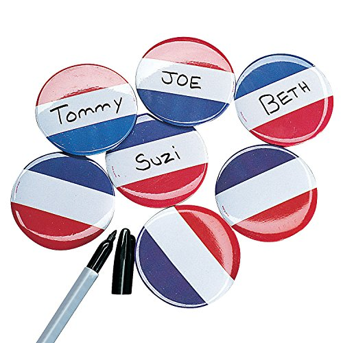 Fun Express - Red/White/Blue Name Buttons (72pc) for Fourth of July - Jewelry - Pins - Novelty Buttons - Fourth of July - 72 Pieces