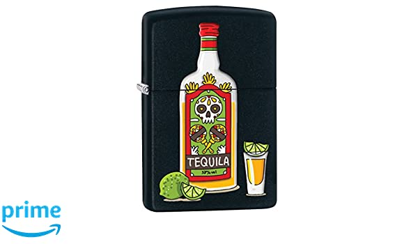 Amazon.com: Zippo Lighter: Tequila Bottle and Limes - Black Matte 78138: Health & Personal Care