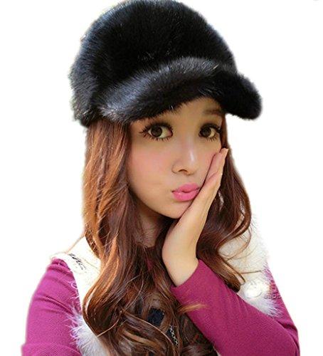 YR Lover Women's Warm Class Mink Fur Peaked Cap Beret