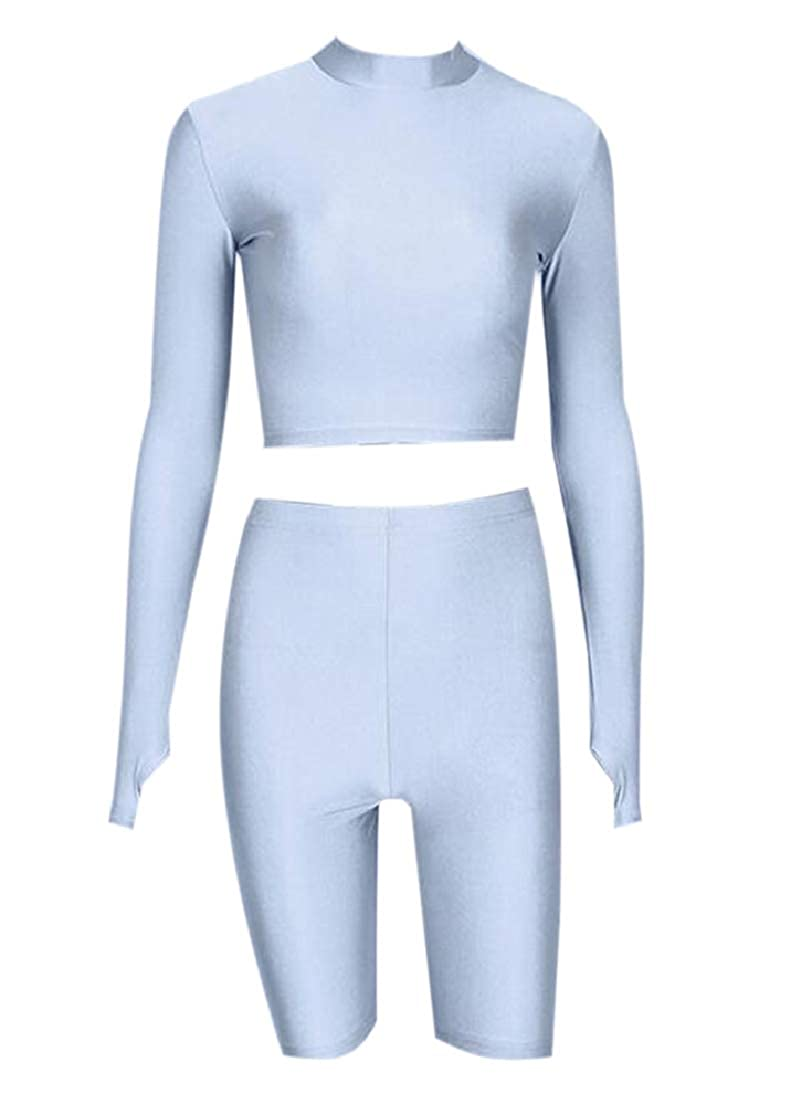 KLJR Women 2 PCS Outfits Thumb Hole Tracksuit Crop Tops and Bodycon Biker Shorts Set