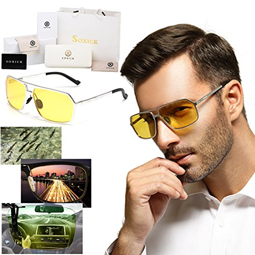 Soxick HD Metal Polarized Night Vision Driving Glasses Sunglasses Square Oversized Full Rim for Men - Glasses Driving For Night Best