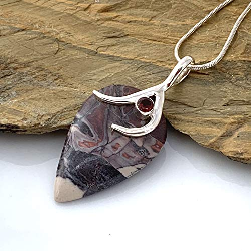 - Exotic Natural Mexican PORCELAIN JASPER and Garnet Crystal 925 Sterling Silver Abstract Pendant (1.65' Long) Jewelry wiht FREE Silver Chain.