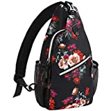 MOSISO Mini Sling Backpack,Small Hiking Daypack Pattern Travel Outdoor Sports Bag, Cottonrose