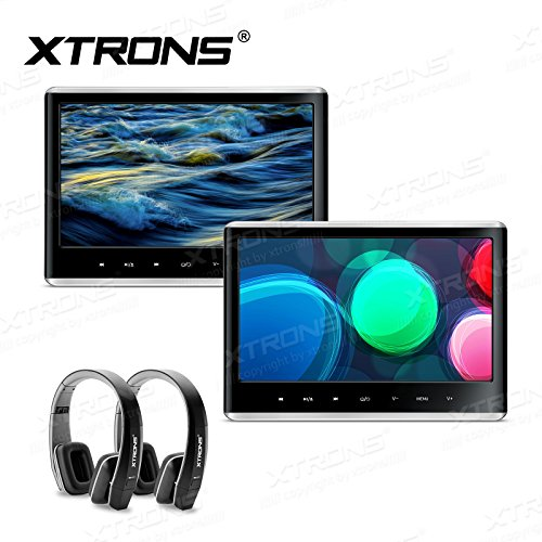XTRONS Touch Panel 11.6 Inch Full HD Display 1080P Video Car Active Headrest Mounted DVD Player Games AV In/Out HDMI Pair Black New Version Headphones